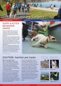 Winter 2015 Newsletter, Behaviour advice, harmful pet treats, Wildlife Care, Pain Relief, Million Paws, Staff News (1MB)